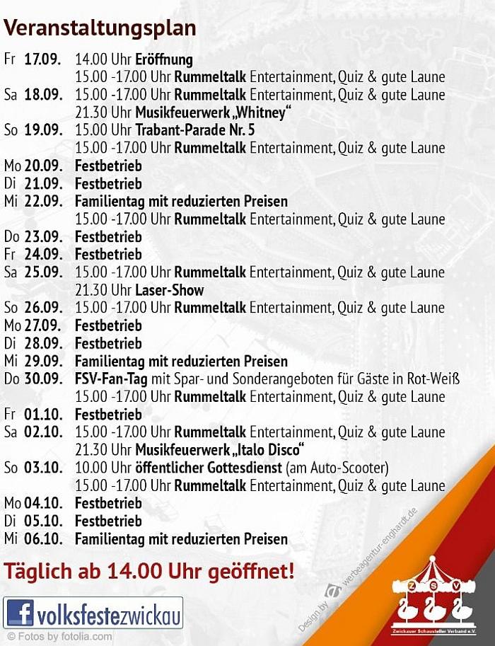 Programm Herbstvolksfest Zwickau 2021 - VERGOLDET DEN HERBST